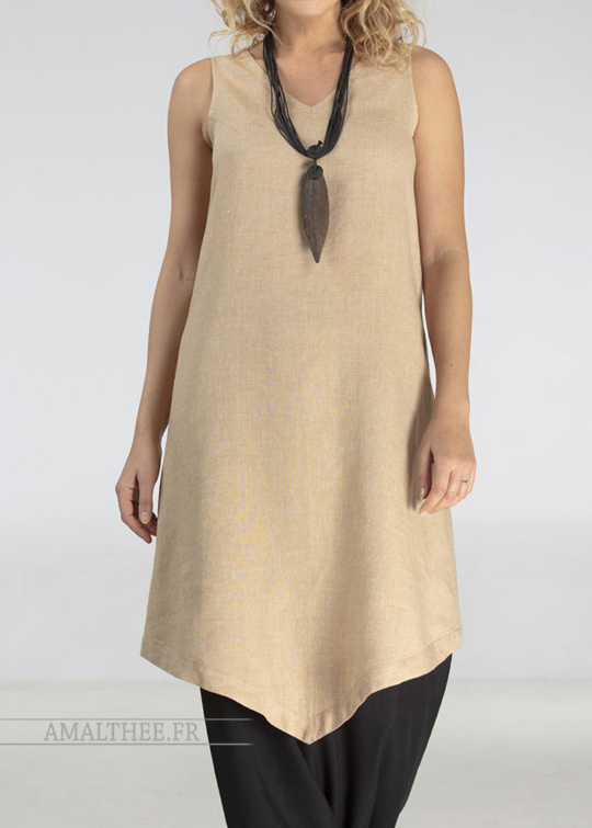Beige linen tunic dress  for women Tunics