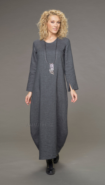 Manon topstitched slate gray linen dress Dresses