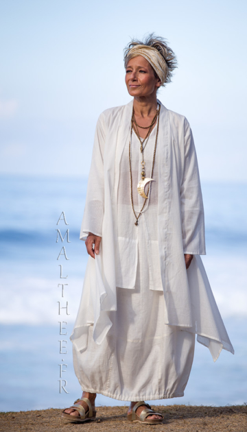 Layered summer outfit:loose fit super thin white cotton summer coat Angel bargain corner