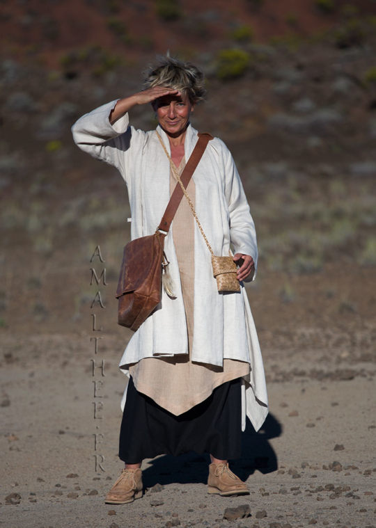 Spring summer beige linen duster coat Looks