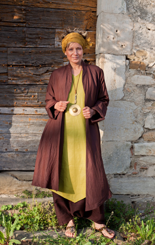 Silk and linen women summer coat brown/purple color Coats