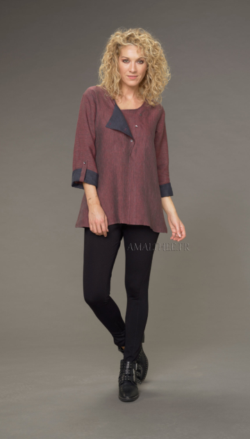 Two-tone Mathilde tunic in garnet / dark blue chambray linen with black jeggings Looks Winter autumn