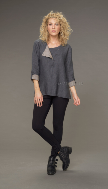 Two-tone Mathilde tunic in stone gray / taupe chambray linen with black jeggings Looks Winter autumn