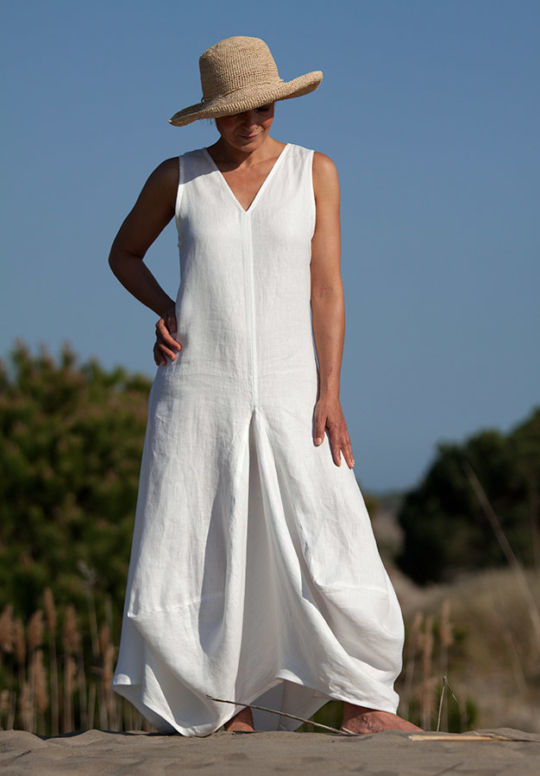 Long white linen dress Looks