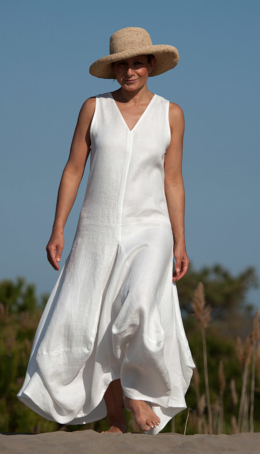 white linen Moon dress Dresses