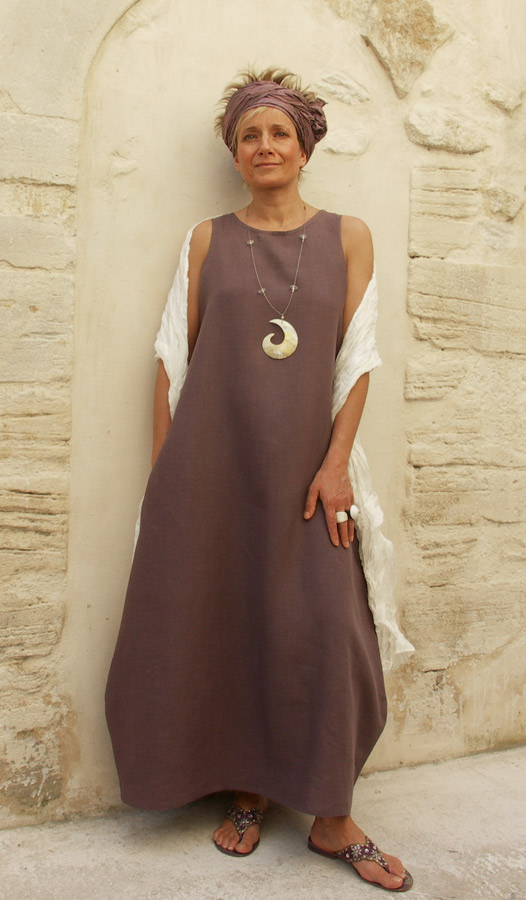Linen dress  lavender color. Looks