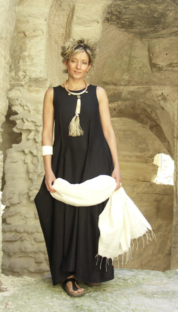 Black linen/viscose elegant evening dress Dresses