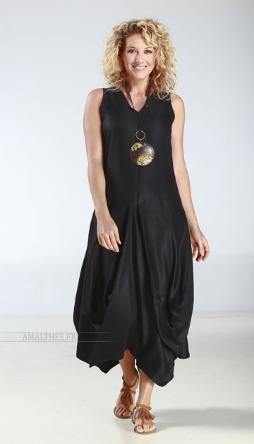Long black linen summer dress with drape panels Looks