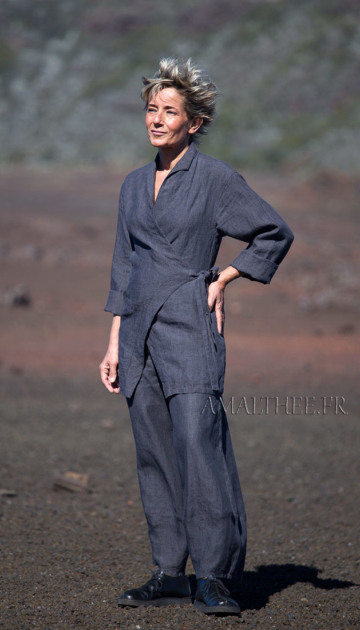 slate grey flax linen outfit for women Looks
