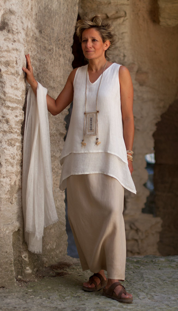 layered off white linen gauze top Looks Spring summer