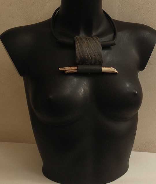 ethnic jewel, tribal necklace made of horn, wood and rubber Jewellery