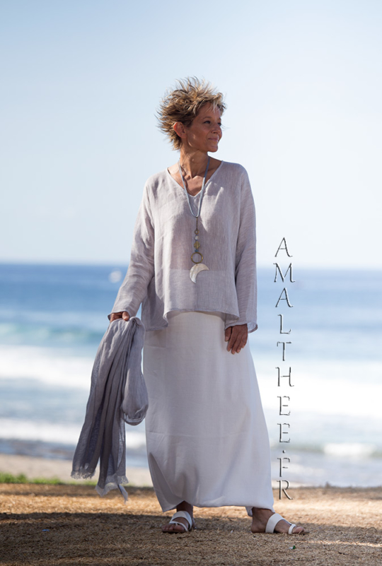 Ice grey blue linen gauze Tunic Dana: Lightweight and super feminine. Looks