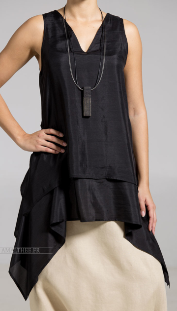 Women Top made of black veil of silk Sleeveless tops