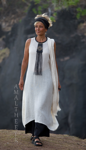 A long oatmeal linen gauze tunic Lili layered on our wild legs black linen baba pants Looks