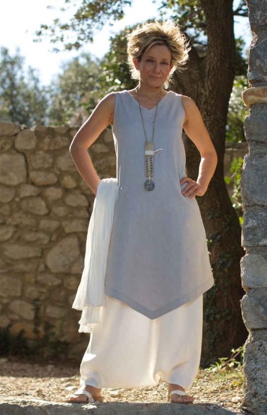 Ice blue linen Tunic with white linen harem pants Looks