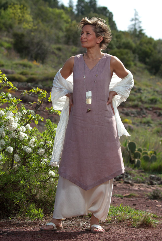 linen summer clothes: lilac color  tunic and sarouel-skirt Looks