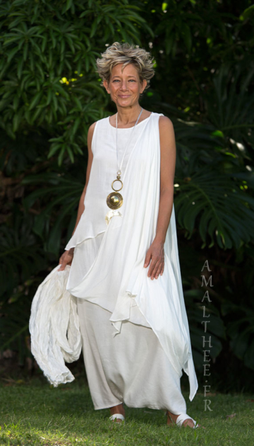 White mixed silk bridal asymmetrical drape tunic Looks