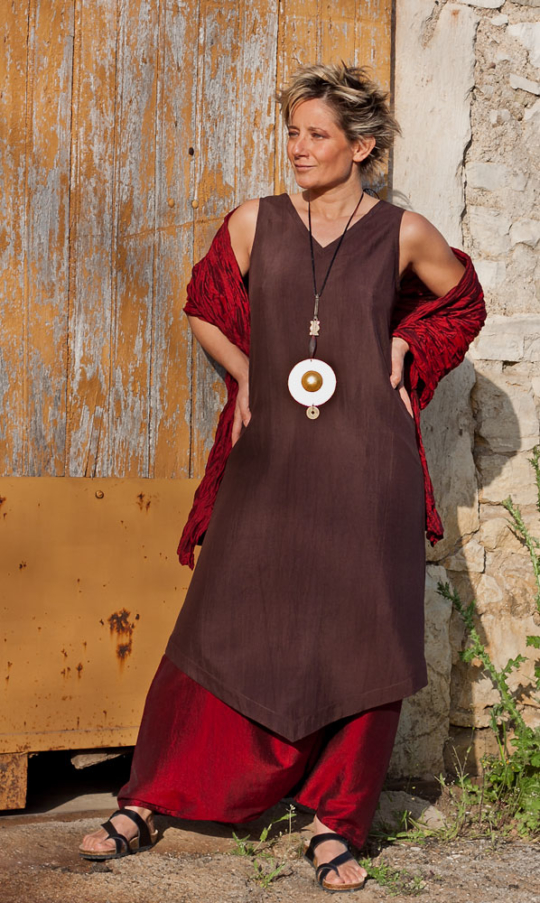 Dark Purple shantung silk tunic and harem pants Looks