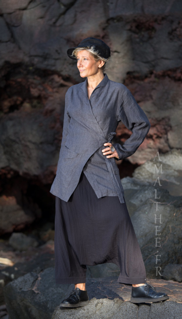 Women fashionable slate grey linen  outfit Looks