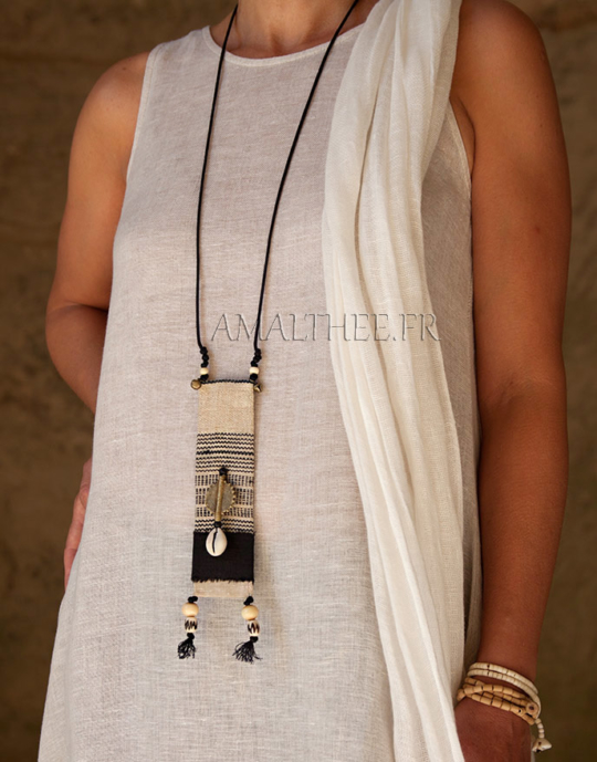 Ethnic textile jewelry with african beads Jewellery