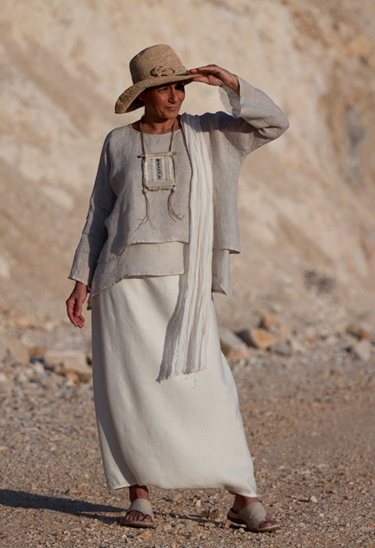 Loose fit layered linen gauze tunic Looks