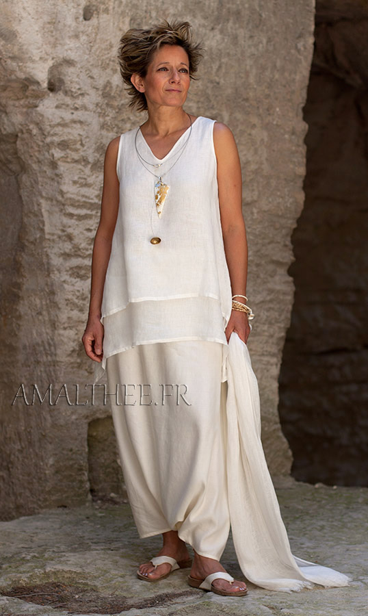 Off white layered linen gauze top with sarouel skirt Looks