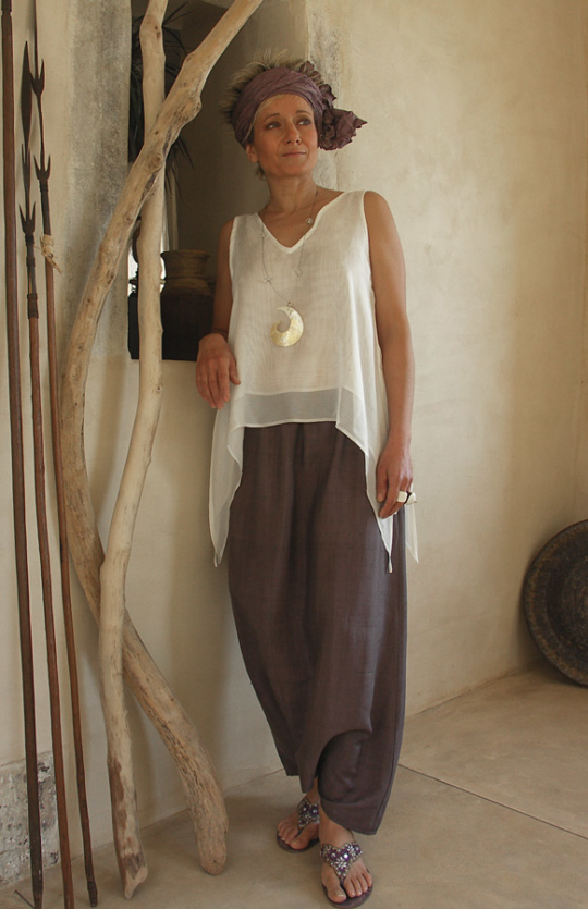 Top made of  white silk veil worn over a purple shantung harem pants Looks