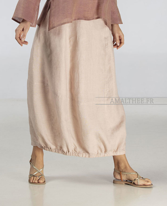 Pale rose linen Zoe skirt bargain corner